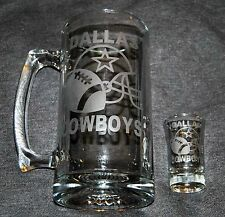 DALLAS COWBOYS BEER MUG OR SHOT GLASS OR GET BOTH HAND ETCHED (NEW) 005
