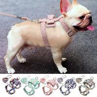 Floral Dog Harness&Leash Bowtie Pet Puppy Strap Vest Boston Terrier Jack Russell