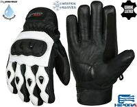 MENS BLACK & WHITE THERMAL MOTORBIKE MOTORCYCLE MOTOCROSS WINTER LEATHER GLOVES
