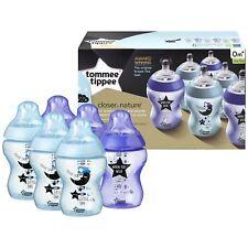 6 X Tommee Tippee cerca de naturaleza decorado botellas de bebé 260ml-Azul y Púr...