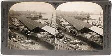 Keystone Stereoview Wharf, Montreal, CANADA, Train Cars from 1910s Education Set