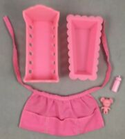 Pink Cradle Bathtub Apron Teddy Bear Barbie Baby-Sits Vintage Mattel 1974 Lot
