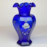 Fenton Glass Cobalt Hex Vase Diamond Jubilee Spruce Crest Bill Fenton 75th QVC