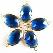6Pcs Faceted Wrapped Blue Titanium Crystal Oval Pendant Bead 18x13x5mm W73BB