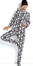 Sanrio Hello Kitty Footed Pajamas 1 PC Black White Zebra Costume L NWT LAST ONE
