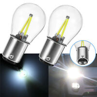 2x 1157 Ba15d DC 12v White COB LED Bulb Tail Car Reverse Backup Brake Light Lamp