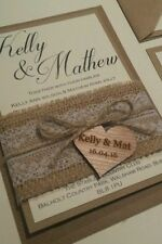 A6 Vintage Rustic Wedding Day Invitation with rsvp / wish engraved heart detail