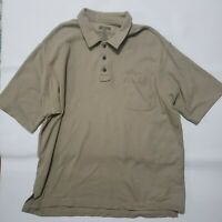 Duluth Trading Co Mens XL Beige Front Pocket Short Sleeve Polo Golf Shirt