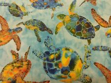 Multi Color Sea Turtles In Ocean Fabric Scrap Quilt Sew Craft