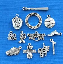 Baseball Charm Collection 12 Tibetan Silver Tone Charms FREE Shipping E45
