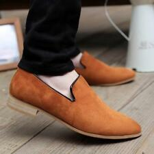 Men's Flat Slip On Loafers Pointy Toe Oxfords Faux Moccasins Suede Casual Shoes