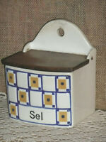 "VINTAGE ceramic FRENCH SALT BOX / WALL CANISTER - ART DECO ""CARO"" pattern"