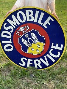 Oldsmobile Service DOUBLE sided porcelain enamel sign! HUGE!