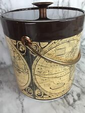 Insulated Ice Bucket Man Cave World Globe Atlas Map Brown West Bend Thermo Lid