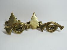 Set 4 Napkin Ring Holders Gold Metal Brass Christmas Pine Trees Holiday Horns