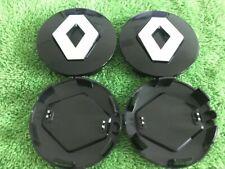 RENAULT ALLOY WHEEL CENTRE CAPS HUB 57mm 4 X BLACK SET MEGANE LAGUNA CLIO TWINGO
