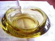 """7"""" Vintage Rosice Glassworks Czech Yellow Glass Bowl By Rudolf Jurnikl"""