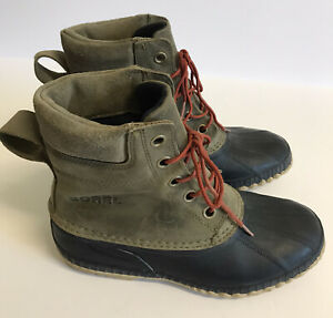 Sorel Men's Sz 8 Duck Boots Black Brown Cheyanne Waterproof Ankle Winter