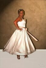 NWT Size 18 Tea Length Ivory and Champagne satin bridal gown, wedding dress