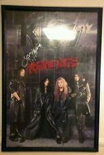 Kiss Revenge promo poster Kiss signed 4 band members.1992