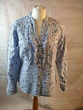 Joe Browns White Floral Cotton Mandarin Collar Long Sleeve Shirt Blouse 14/16