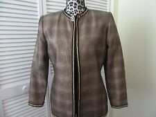 Vintage Albert Nipon Evening Jacket,Top,4, Black,gold metallic, gold braid,lined