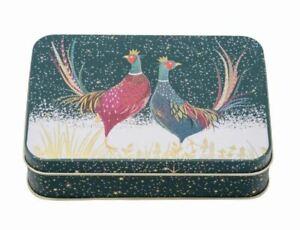 Sara Miller Christmas Pheasant Small Rectangular Storage Tin 14x3.5x10