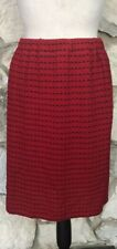 St John Collection Marie Gray Sz 6 Santana Knit Pencil Skirt Red Black Stripe