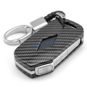 Carbon Fiber Car Smart Key Fobs Ring Chain Cases Cover Holder For Kia Soul K3 K5