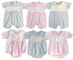 Baby Boy Girl ROMPER SUIT Smocked BOWS Spanish Style