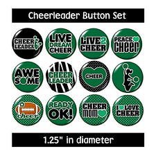Green CHEERLEADER BUTTONS pins cheerleading sports motivation competition