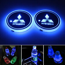 1pair RGB LED Car Cup Holder Pad Mat Coaster Fit Mitsubishi Auto Interior Light