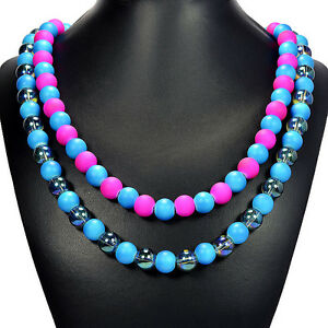 Rainbow Candy Shell & Mystic Fire Crystal Statement Necklace Jewellery Gift Idea
