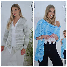Knitting Pattern femmes à manches longues Cardigan & Lacy Wrap VOGUE DK King Cole 4766