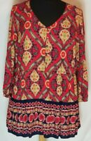 Red, cream and black Pullover Blouse, Red Camel Plus, Size 3X, Loose Fit V-neck