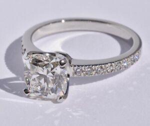 Tiffany & Co Platinum Square Cushion Diamond Ring 1.88 ct