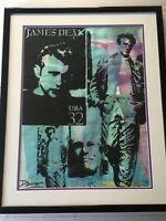 "Davo Original Mixed Media James Dean ""USA 32"", Signed, Framed, 17"" x 22 1/2"""