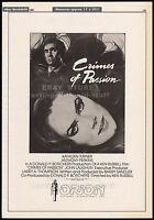 CRIMES OF PASSION__Original 1984 Trade print AD / poster promo__KEN RUSSELL_rare