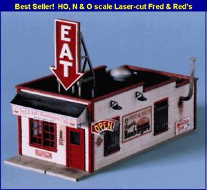 Blair Line (N-Scale) #090 FRED & RED's CAFE (Wood Laser Kit) NIB