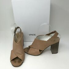 Vince Faine Leather Slingback Open Toe Block High Heels Sandals Shoes Nude Brown