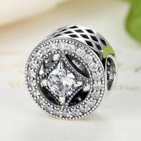 Luxury Women Sterling Silver Sparkling CZ Charm fit DIY Charm Bracelet/Bangle