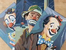 Paint By Number PBN Clowns Emmett Kelly Jr Set Of 3 2 Circus & 1 Sad