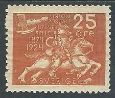 1924 SVEZIA CINQUANTENARIO UPU 25 ORE MH * - Y00
