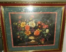 Vintage Large Homco/Home Interiors Gold Frame Floral Picture