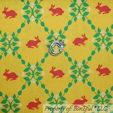 BonEful Fabric FQ Cotton Quilt Yellow White Green Red Dot Leaf Bunny Baby Easter