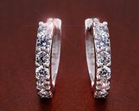Elegant Womens Ladies White Crystal Ear Small Hoop Earrings Silver Jewelry Gift
