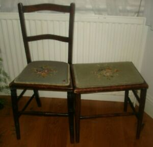 King Edward VII Coronation Favour Needlepoint Small chair and stool, 1902