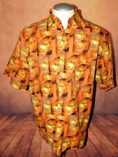 Mens Utopia Button Front Dragon Print Club Lounge Shirt sz L