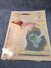 Map Geology Bedrock Michigan 11 X 15 Glaciers Ice Age Great Lakes State
