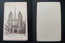 France, Dijon, cathédrale Saint-Benigne Vintage albumen print CDV.  Tirage al
